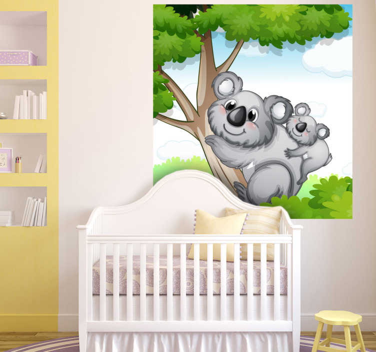TenStickers. Kids Koala Wall Mural. Kids Wall Stickers -Playful mural of a mother koala bear and her baby on a tree. Colourful design ideal for decorating areas for kids.