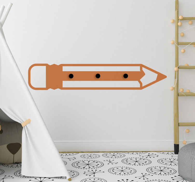 TenVinilo. Perchero adhesivo infantil forma de lápiz . Compre nuestro perchero adhesivo de  vinilo decorativo para pared de niños con diseño de lápiz. Elige el color que deseas ¡Envío a domicilio!