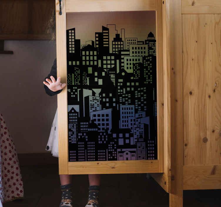 TENSTICKERS. 色とりどりのクローゼットの家具デカール. 素晴らしいシティービュー家具ステッカー。それは高品質のビニールから作られ、それは適用が簡単です。必要なサイズで利用できます。