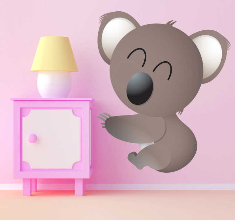 TENSTICKERS. キッズハッピーコアラクマウォールステッカー. 子供の壁のステッカー-コアラの笑顔の遊び心のあるイラスト。
