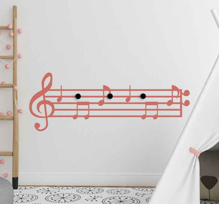 TenVinilo. Perchero adhesivo infantil notas musicales . Perchero adhesivo de vinilo decorativo con notas musicales perfecto para habitación infantil. Elige el color que deseas ¡Envío a domicilio!