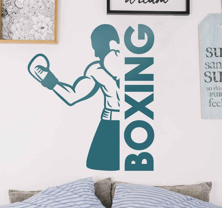 """TenVinilo. Vinilo juvenil de boxeo con figura de luchador. Vinilo para habitación juvenil de deportes que contiene la figura de un boxeador y el texto """"boxeo"""". Elige color y medidas ¡Envío a domicilio!"""