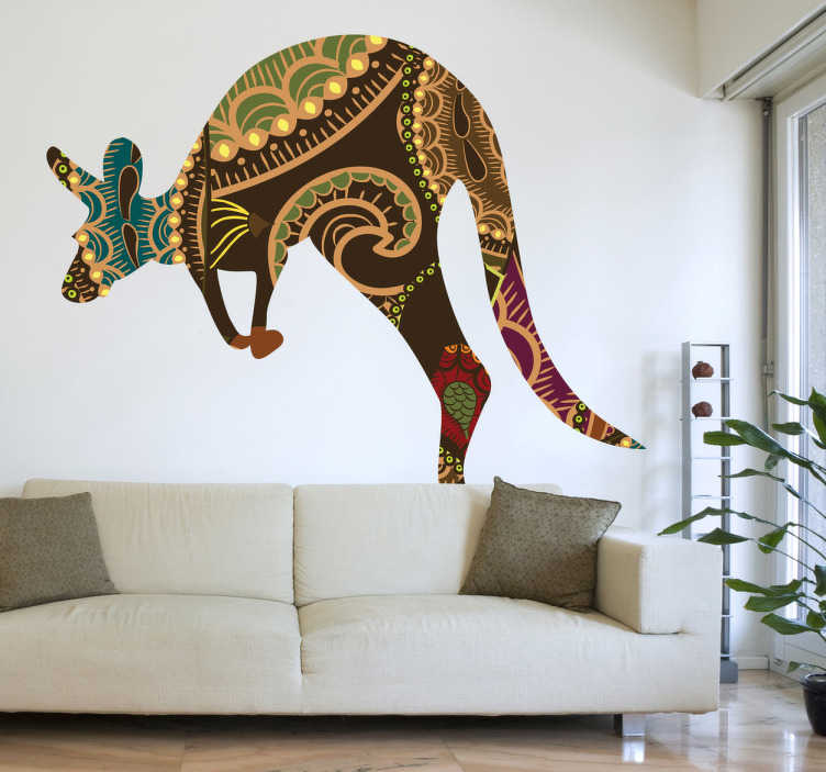 TenStickers. Kangaroo Pattern Silhouette Wall Sticker. Wall Stickers - Silhouette illustration of the outline of a kangaroo filled a floral pattern. Ideal for adding an distinctive touch to any room.