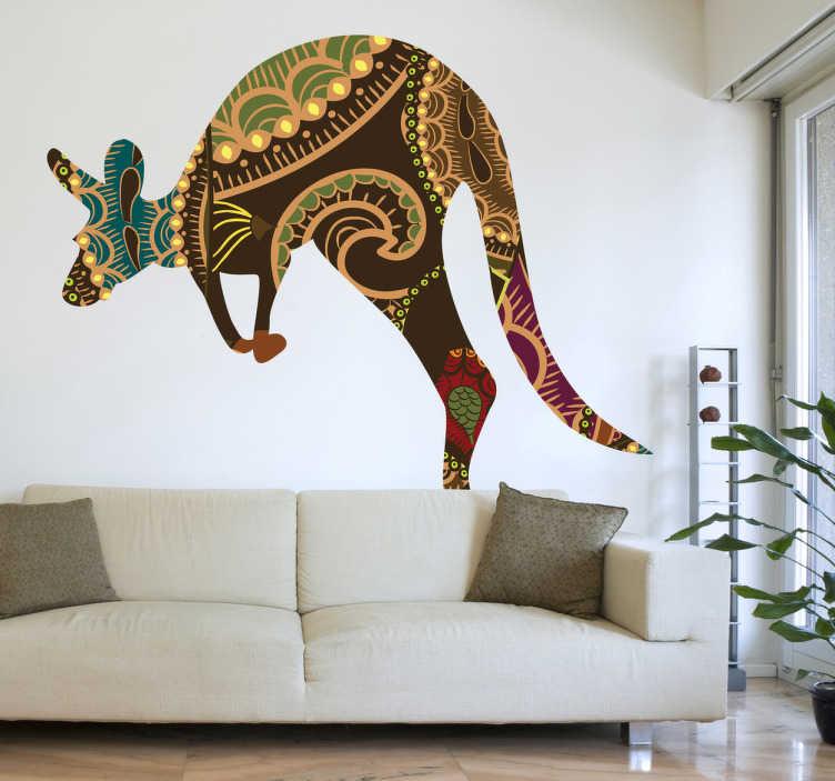 TenStickers. Muursticker patroon silhouet kangoeroe. Op deze muursticker is een gesynthetiseerd ontwerp te zien van een kangoeroe in beweging. Prachtige wanddecoratie voor uw woning.