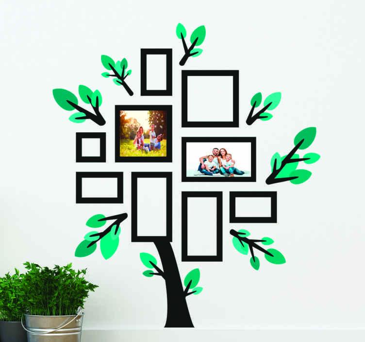 TenVinilo. Vinilo pared árbol fotos de familia estilo olivo. Vinilo pared árbol fotos con varios diseños cuadrados para colocar las fotos personalizadas que elijas. Elige medidas ¡Envío a domicilio!