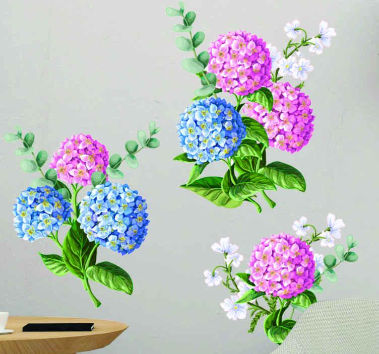 TENSTICKERS. ピンクの花の花壁デカール. リビングルームの装飾に最適なリアルなフラワーフラワーウォールアートデカール。適用が簡単で、高品質のビニールで作られています。
