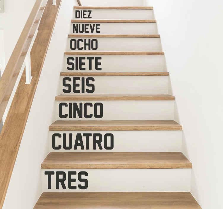 TenVinilo. Vinil para escaleras números para escalones. Vinilos adhesivos para escaleras con números con los que podrás indicar el número de escalones. Elige medidas ¡Envío a domicilio!