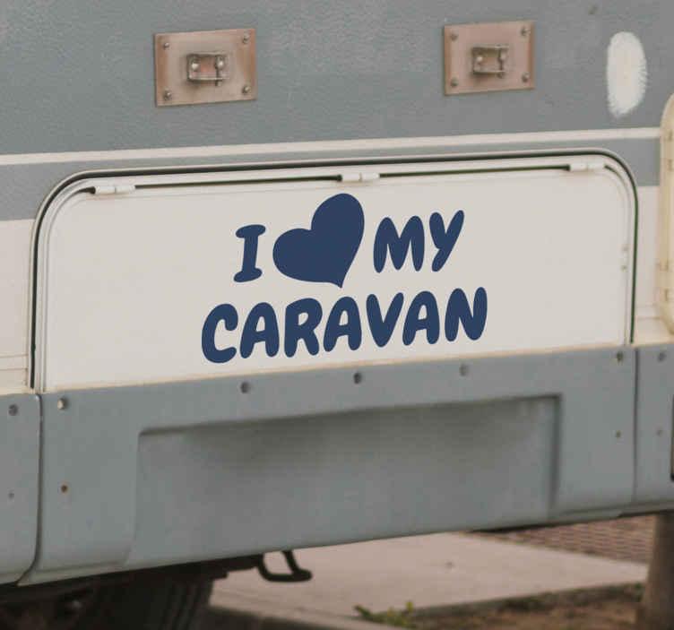 TenStickers. Vinil textos Eu amo minha caravana. Um projeto de autocolante de vinil de texto simples de '' eu amo minha caravana ''. Um produtoque você pode colocar em uma caravana ou espaço de veículo. é fácil de aplicar.