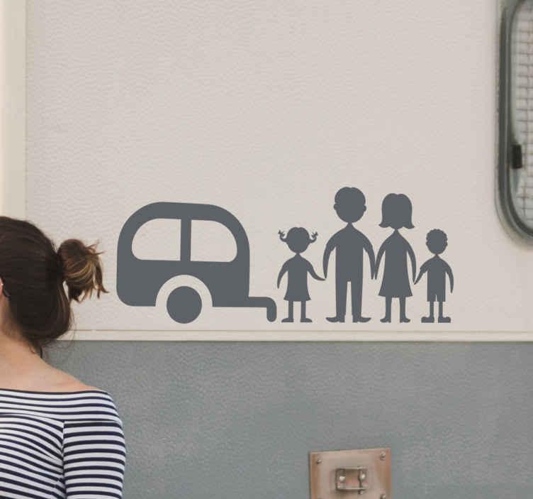 TenStickers. Nálepka rodinné karavany. Kresba nástěnné nálepky design rodiny a karavanu. Design, který zachycuje rodinnou lásku k cestování a dobrodružství. Je snadné použít