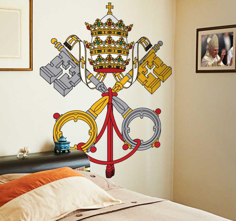 TenStickers. Naklejka dekoracyjna herb Watykanu. Naklejka dekoracyjna na ścianę, która przedstawia herb Watykanu,katolickiej stolicy. Nowe promocje w naszym newsletterze!