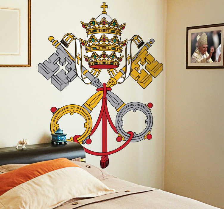 TenStickers. 바티칸 코트 데칼. 데칼-거룩한 참조의 팔의 외투와 두 개의 교차 키의 형태로 바티칸 상태와 거룩한 참조의 팔의 외투로 사용되는 티아라.