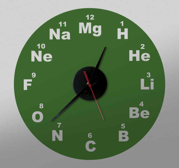 TenStickers. Muursticker Chemische klok. Een mooie muurklok chemische symbolen sticker. Het is gemakkelijk aan te brengen en verkrijgbaar in elke gewenste maat.