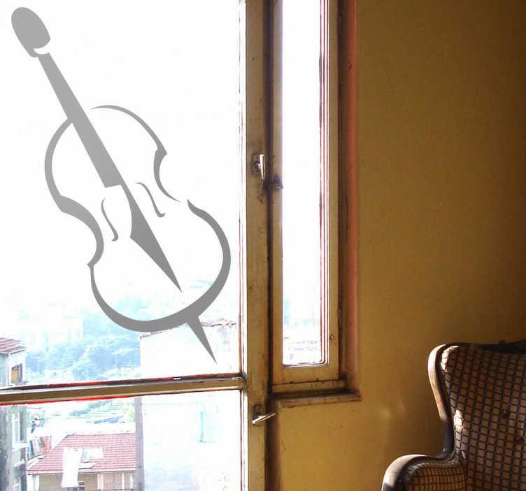TenVinilo. Adhesivo decorativo dibujo contrabajo. Vinilo de un violón, disponible en diferentes colores. Una decoración elegante y sensorial para un buen ambiente en tu salón.