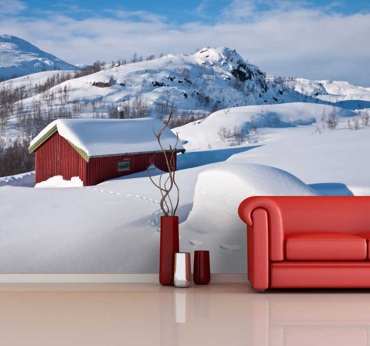 TenStickers. Snowy House Wall Mural. Photo Murals - Shot of a house in the mountains covered in snow.