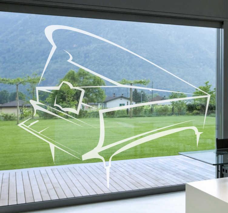 TenStickers. Sticker piano transparant. Deze muursticker omtrent een piano in een lijnachtig ontwerp. Ideaal ter raamdecoratie van uw woning!