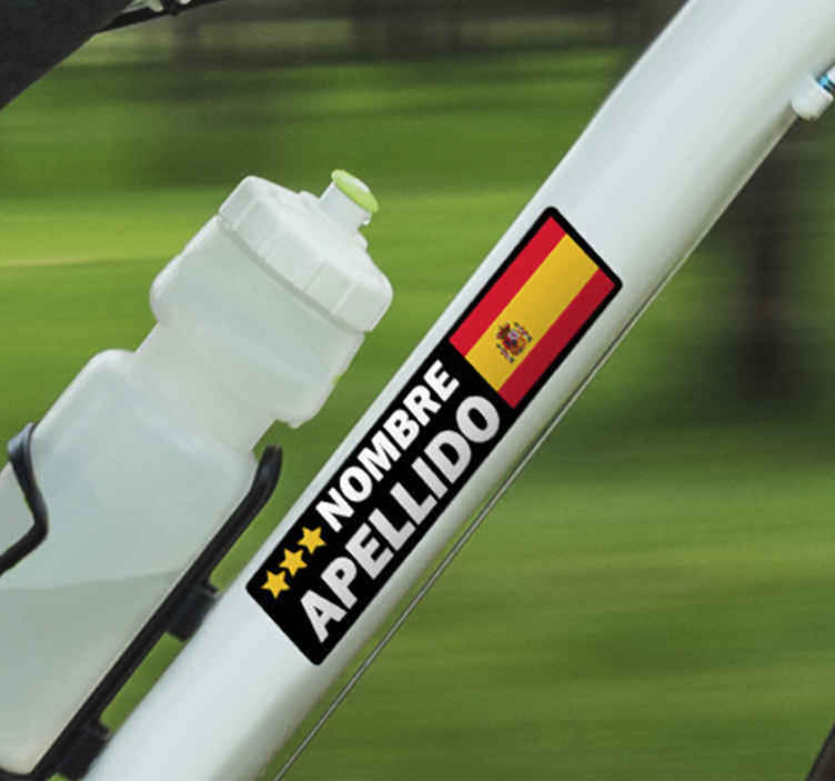 TenStickers. Bike customizable flag Bike Decal. Customize your own flag and text in our original bike frame sticker made from high high quality vinyl. t is easy to apply and self adhesive.