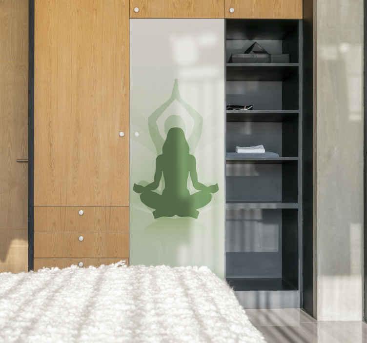 TENSTICKERS. ヨガ家具デカール付きクローゼットドア. 特別なヨガのポジションが特徴の、ヨガプラクティスデザインのドアクローゼットの家具のビニールデカール。必要な寸法で使用できます。