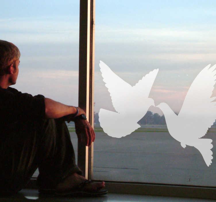 Adhesivo silueta pareja palomas