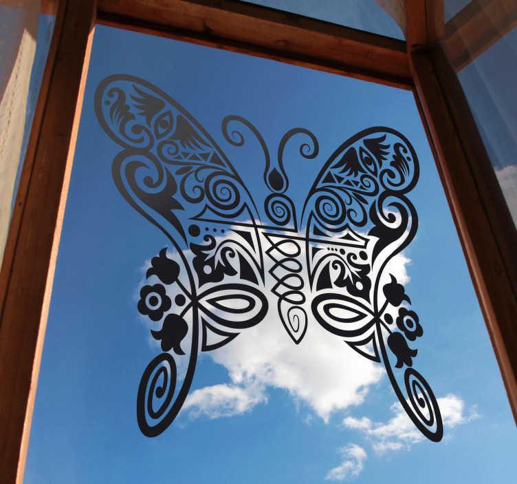TenStickers. Wandtattoo Schmetterling abstrakt. Mit diesem schönen Schmetterling als Aufkleber können Sie Ihre Wand dekorieren oder Ihre Fensterscheibe zum Hingucker machen.