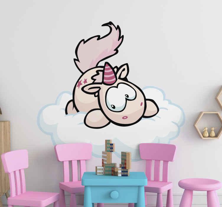 TENSTICKERS. ユニコーンファンタジーデカール. 子供たちは自分のスペースに幸せで妖精のファンタジーの雰囲気を作り出すために赤ちゃんユニコーンのアート装飾を壁に掛けます。粘着性があり、簡単に塗布できます。