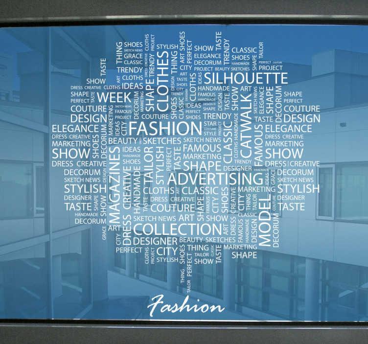 TenStickers. Sticker tekst fahion mode. Tekst sticker voor het decoreren van uw winkel! Een mooie decoratiesticker met hierop een wolk van allerlei woorden gerelateerd aan mode en fashion.