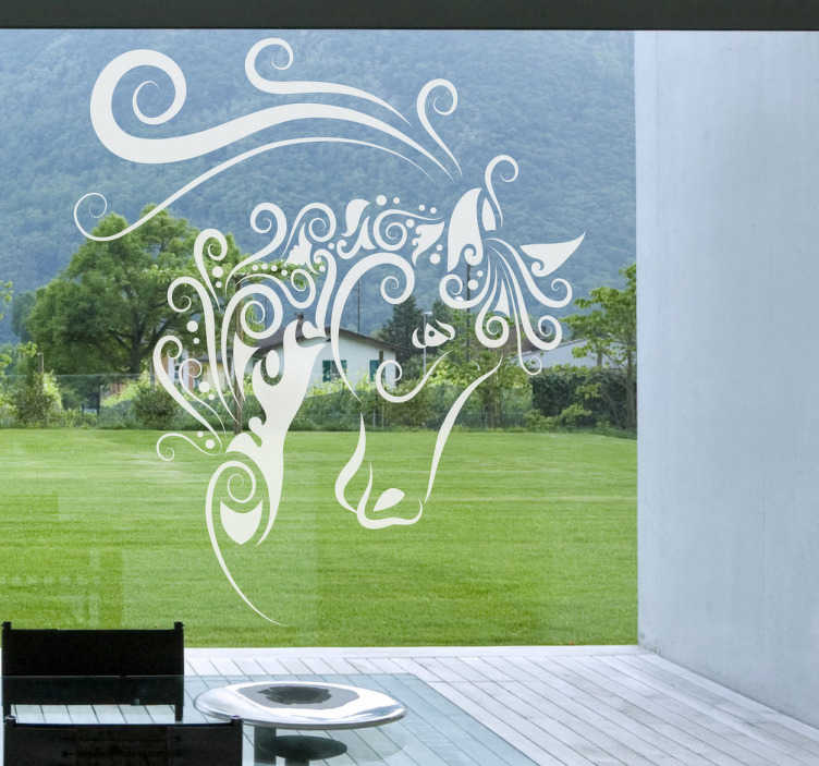 TenStickers. 추상 말 창 스티커. 말 벽 아트 스티커 - 꽃 패턴 말의 창조적 인 그림. 당신의 벽이나 창을 장식하는 화려한 말 벽 데칼!