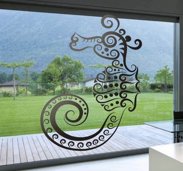 TenStickers. Abstraktes Seepferdchen Aufkleber. Mit diesem Seepferdchen Aufkleber können Sie Ihre Wand dekorieren oder Ihrer Fensterscheibe einen originellen Look verpassen.
