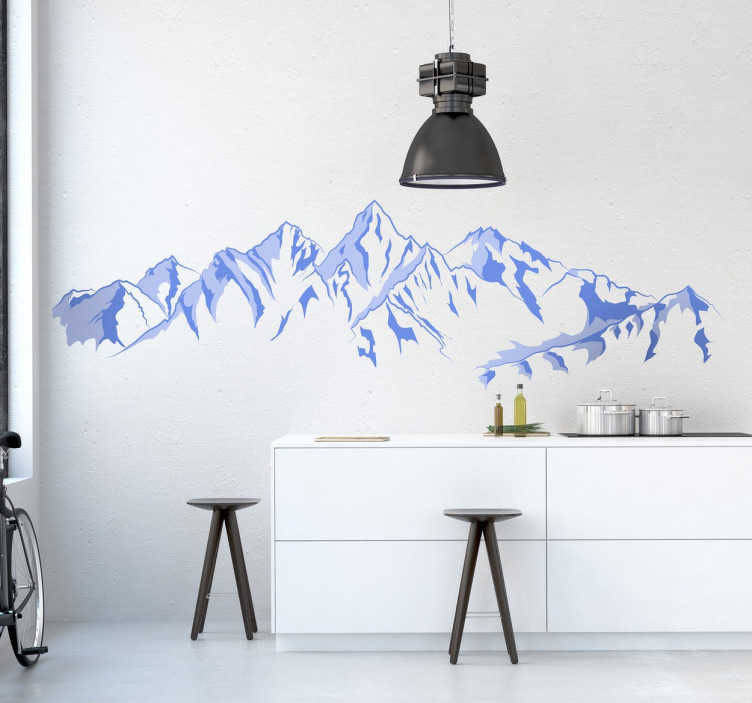 TenStickers. Snowy Mountain Wall Mural. Mountain wall stickers - Incredible view of snowy mountains for lovers of mountain views.