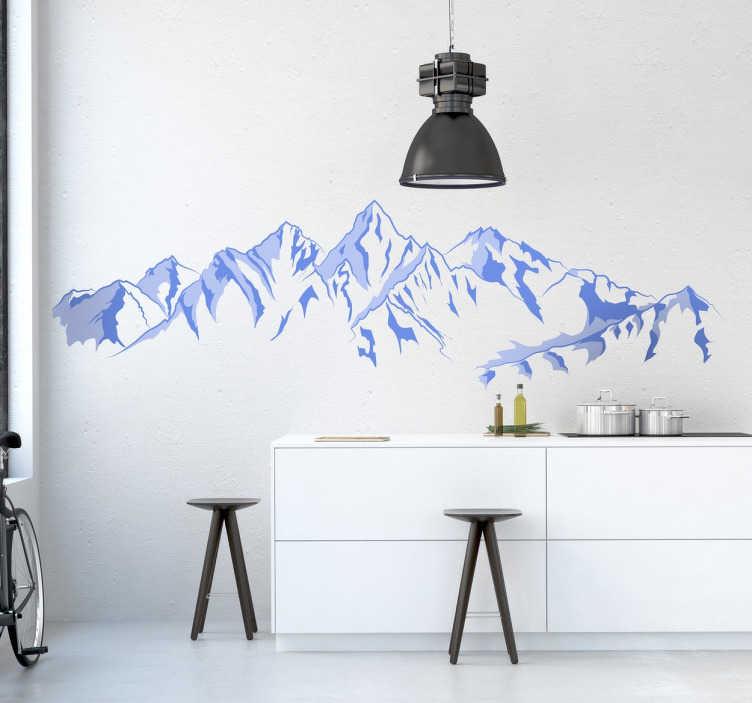 TenStickers. Skigebiet Aufkleber. Wenn Sie das Skifahren und den Schnee lieben, dann ist dieses besondere Foto Wandtattoo Design ideal für Sie.