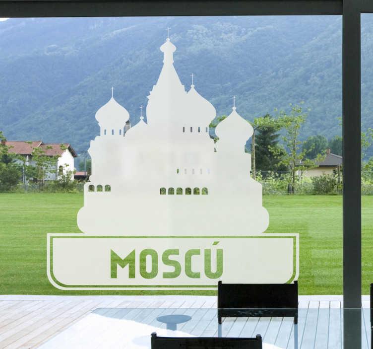 """TenStickers. Wandtattoo Moskau. Dekorieren Sie Ihr Zuhause mit diesem hübschen Aufkleber in Form des Schriftzuges """"Moscú""""und die Silhoulette von Moskaus wichtigstens Gebäuden."""