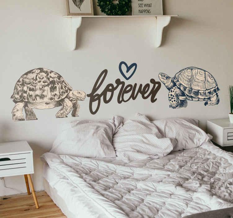 """TenVinilo. Vinilo frase pared de tortugas fondo beige . Vinilo frase pared de estampado con una tortugas y texto """"para siempre"""". Ideal para dormitorio de pareja ¡Envío a domicilio!"""