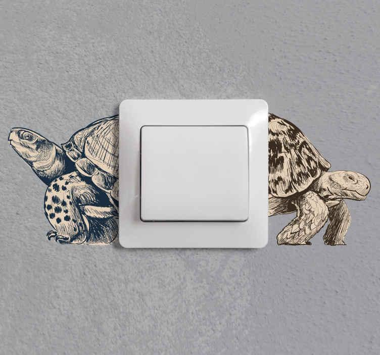 TenStickers. Schildkröten beige Lichtschalter Aufkleber. Tier Lichtschalter Aufkleber mit dem Design der Schildkröte erstellt. Dieses Design lässt sich leicht auf der Schalteroberfläche platzieren und ist in jeder gewünschten Größe erhältlich.