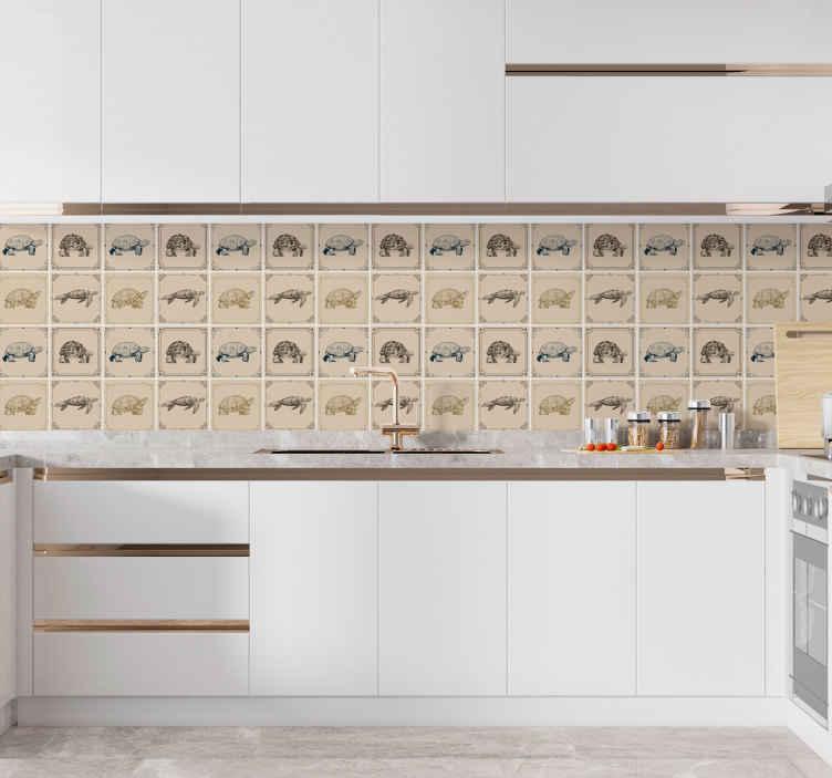 TenVinilo. Vinilos cocina azulejos tortugas fondo beige. Vinilos cocina azulejos tortugas fondo beige impermeables con diferentes estampados de tortuga sobre fondo beige. Elige pack ¡Envío a domicilio!