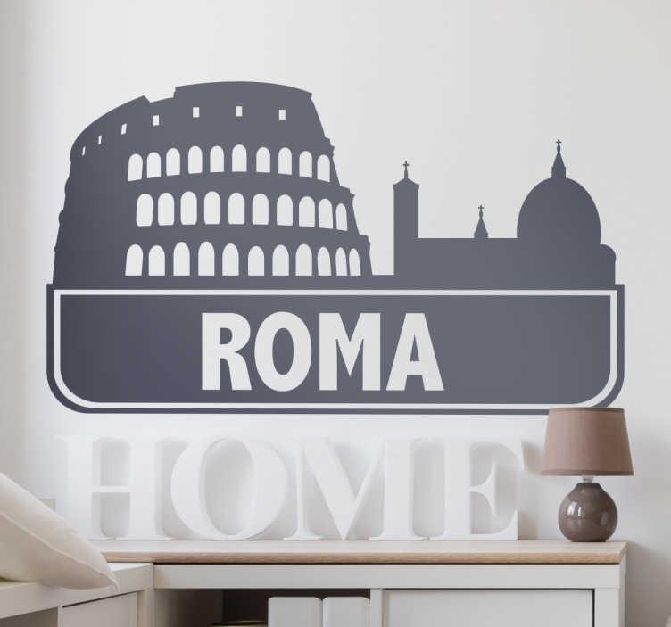TenStickers. Vinil decorativo cidade Roma. Vinil decorativo com a ilustração de uma das maravilhas do mundo: o Coliseu de Roma. Este adesivo de parede em Itália é ideal para si.