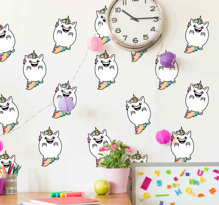 TenVinilo. Pegatinas infantiles unicornios coloridos gorditos. Vinilo de unicornios graciosos para la habitación de los niños para decorar la habitación de un niño de forma feliz y alegre ¡Envío a domicilio!