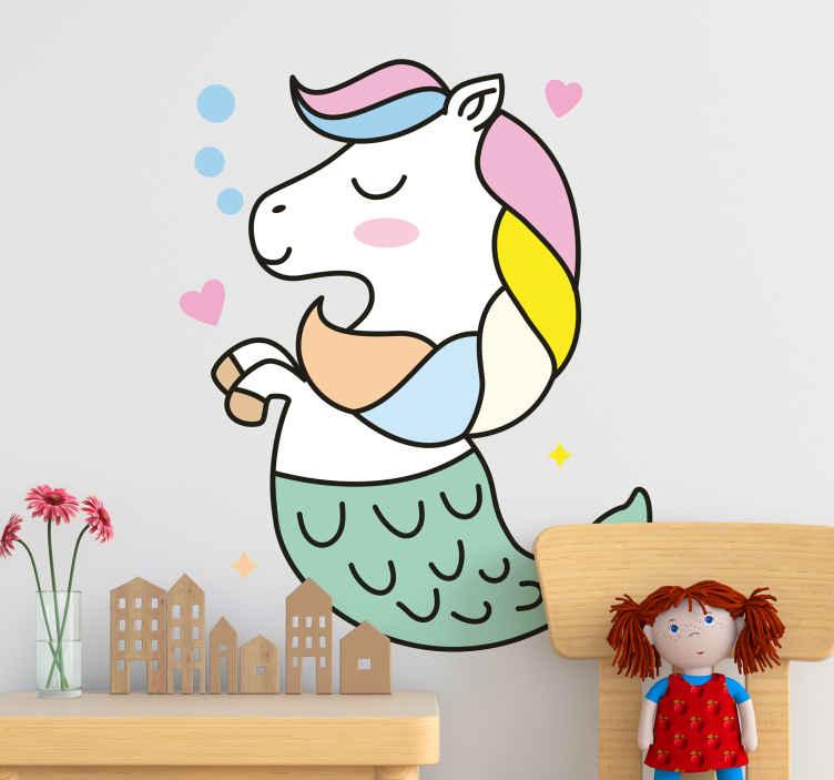 TENSTICKERS. 人魚のユニコーンのおとぎ話の壁のステッカー. 子供のための人魚のユニコーンのおとぎ話のステッカー。人魚の外見を持つおとぎ話の壁用デカールで、必要なサイズで利用できます。