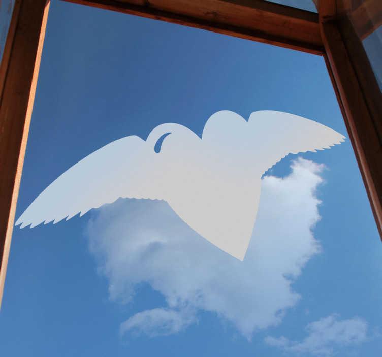 TenStickers. Sticker decorativo cuore volante. Adesivo decorativo che raffigura la silhouette di un cuore con le ali. Una decorazione ideale per le finestre o le vetrine.
