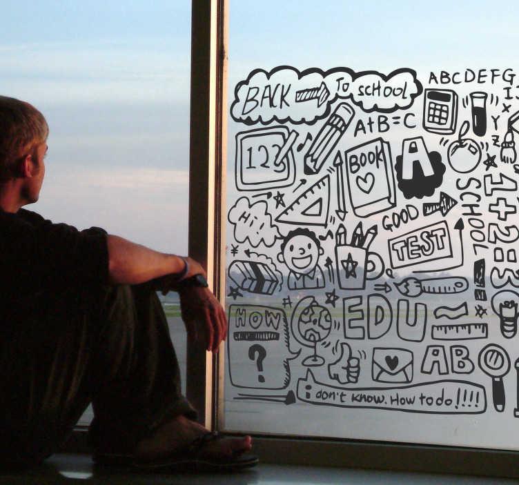 TenStickers. Naklejka dla dzieci szkoła. Interesująca naklejka na ścianę przedstawiająca różne symbole szkoły takie jak: ekierka, zeszyt, ołówek, kalkulator, tablica z kredą oraz wiele innych.