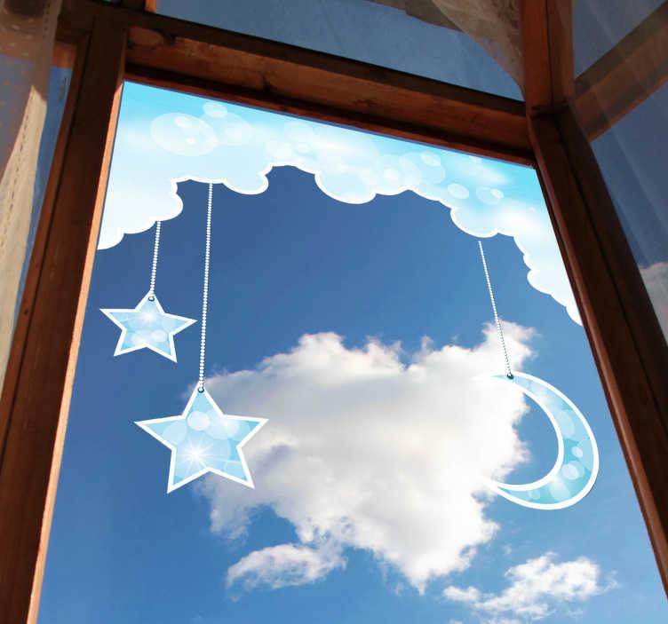 TenStickers. Naklejka gwiazdy i księżyc. Naklejka na ścianę dla dzieci przedstawiająca fragment błękitnego nieba ze zwisającymi gwiazdami i księżycem. Naklejka jest także idealna na okno.