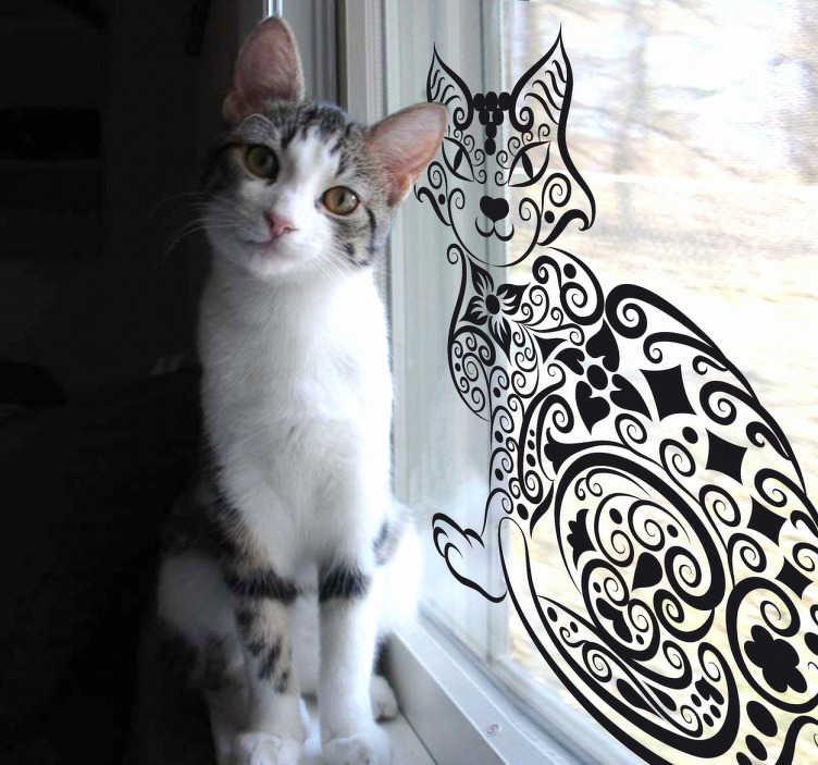 TenVinilo. Vinilo decorativo gato abstracto. Adhesivo  de un gato con llamativos ojos para adornar los cristales de tu salón o de cualquier otra estancia de tu casa.