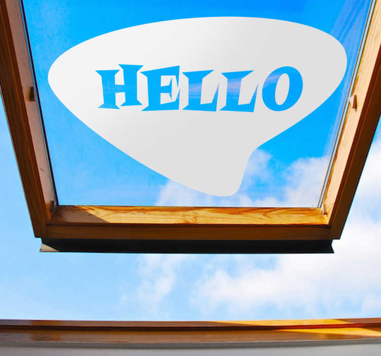 "TenStickers. Hello Retro Decorative Sticker. Decorative decal of a retro design with the text ""Hello"". A very clear and simple message to place anywhere at home."