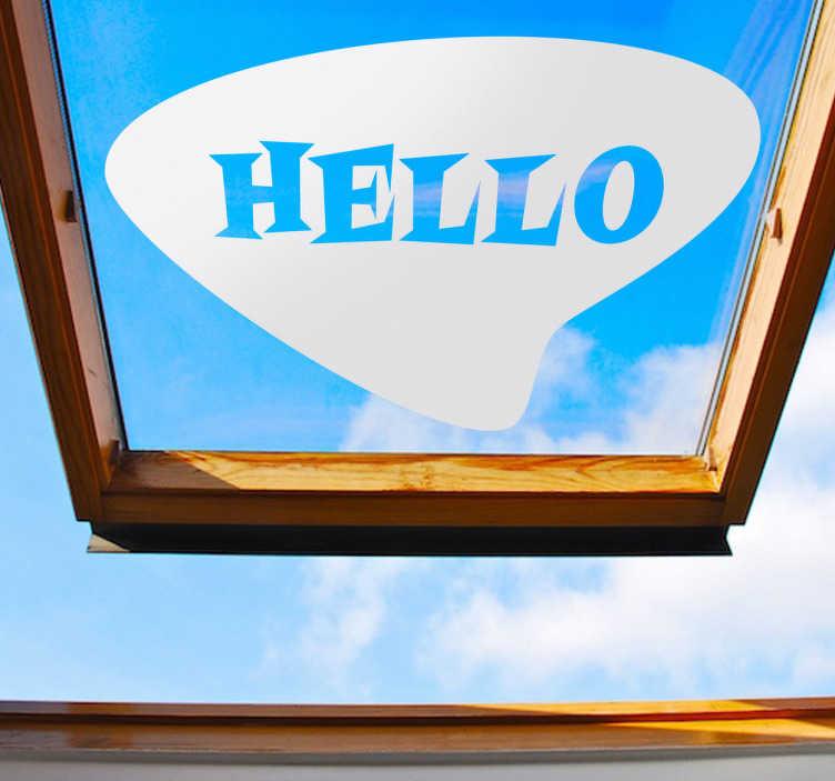 """TenStickers. Naklejka dekoracyjna hello retro. Naklejka dekoracyjna na szybę, która przedstawia dymek z napisem po angielsku Hello, oznaczające """"Cześć"""". Ciekawy obrazej na Twoje okna."""