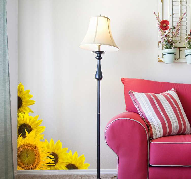 TenStickers. Solsikker stue væg indretning. Denne solsikke sticker er perfekt til alle, der elsker blomster og ønsker at føle, at det er forår eller sommer hele året rundt!