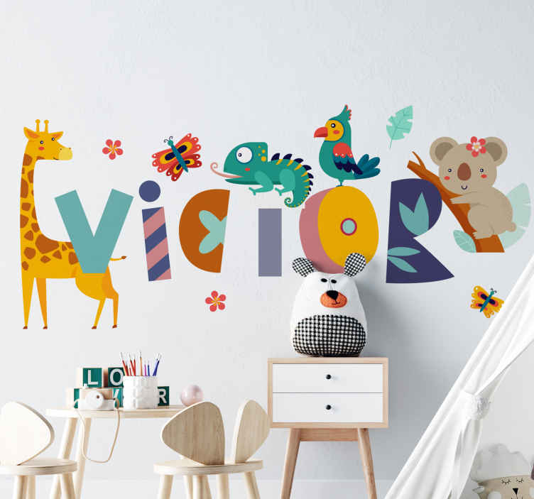 TenStickers. Animals and child name illustration wall  decal. A beautiful decorative personalisable kids wall decal to impress your child. It is featured with different animals and special features.