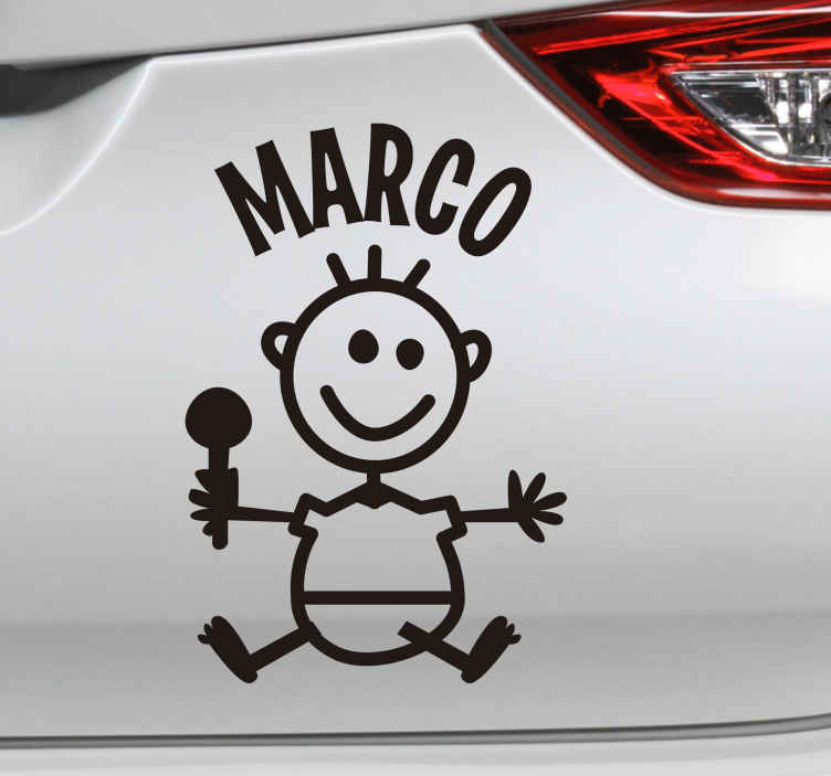 TENSTICKERS. 車のデカールで名前赤ちゃんの子供の体. 子供が乗っている車を飾るために車のビニールステッカーに乗った赤ちゃん。必要なサイズにカスタマイズできます。
