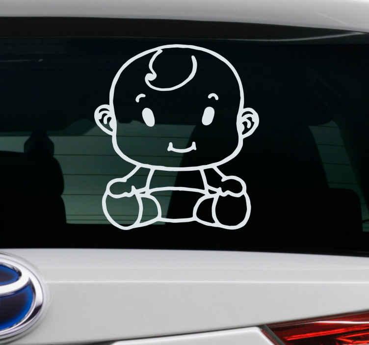 TENSTICKERS. 車のステッカーの子供の体の赤ちゃん. 子供の乗客が乗っている車両に配置するための車のステッカーのデザインの例としての赤ちゃん。色とサイズをカスタマイズできます。