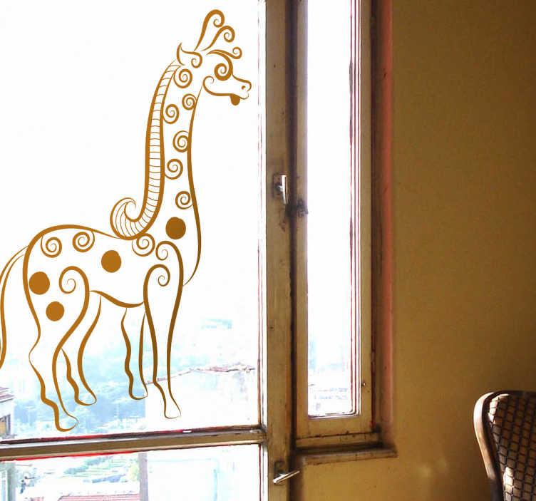 TenStickers. Abstrakte Giraffe Aufkleber. Mit dieser Giraffe als Wandtattoo können Sie Ihrer Wand oder Ihrem Fenster eine unverwechselbare Note verleihen.