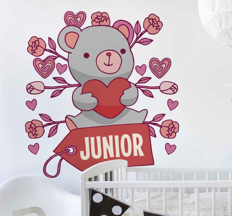 TENSTICKERS. クマの心と名前の壁デカール. パーソナライズされた名前のクマの壁のステッカーを使用して、子供の寝室のスペースにファンキーで幸せな雰囲気を作りましょう。簡単に適用できます。