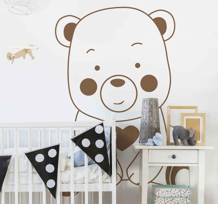TENSTICKERS. クマとハートの壁用ステッカー. 大きなクマのデザインの子供のための装飾的な描画壁ステッカー。必要なサイズとさまざまなカラーオプションで利用できます。