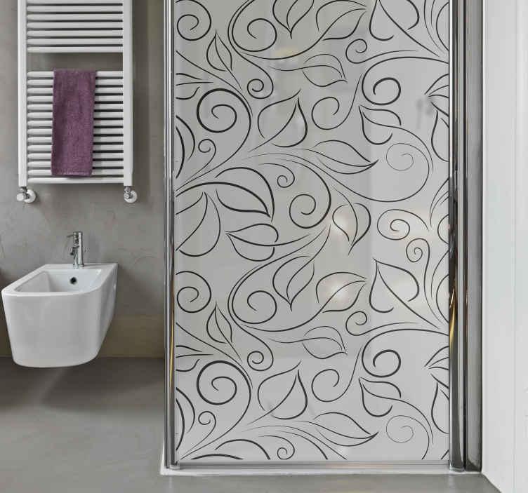 TenStickers. Duschkabinen Folie Blattmuster. Ein Duschwand Aufkleber, um eine Badezimmertür zu verzieren. Dieses Design wurde mit dekorativen Blattmustern erstellt und kann an jede Größe angepasst werden.
